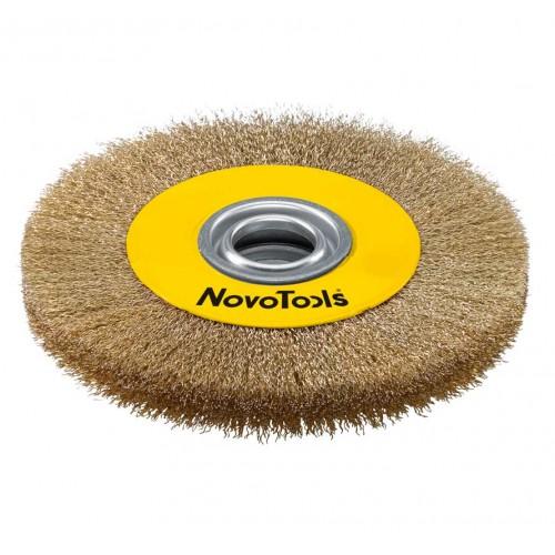 Щётка кольцевая NovoTools, гофрированная латунь, 150х22.2 мм