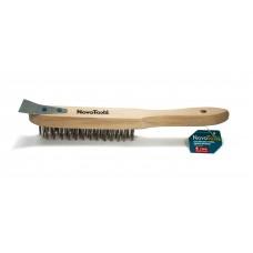 Щетка  скребок ручная NovoTools c деревянной рукояткой